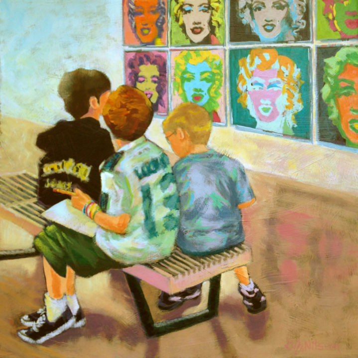 Drawn - Painting,  18x18 in ©2013 by Gloria Nilsson -                            Realism, Acrylic painting by Gloria Nilsson of young students sketching on a bench in front of Andy Warhol's Multicolored prints of Marilyn Monroe at the Wadsworth Atheneum Museum of Art, Hartford, Connecticut.