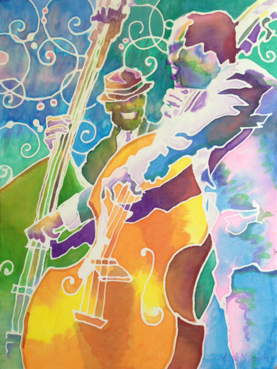 Off the Cuff - Painting,  24x18 m ©2014 by Gloria Nilsson -                                                                                                                                    Pop Art, Contemporary painting, Illustration, Other, Music, Colors, Performing Arts, Pop Culture / celebrity, Portraits, Jazz bass musicians improvisational performance, silk painting, gutta, acrylic, bass, duet