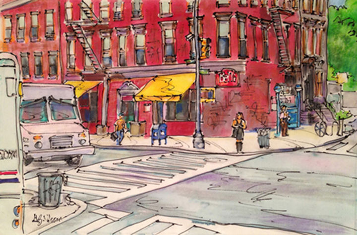 On the Corner, Brooklyn, NY - Painting,  12x18 in, ©2014 by Gloria Nilsson -                                                                                                                                                                                                                                                                                                                                                                                                                                                                                                                                                                                                                                                                                                                                                                              Illustration, illustration-600, Other, Places, Architecture, Automobile, Cities, Culture, brooklyn, New York, city scape, figurative, USPS, silk painting, gutta, oil sticks