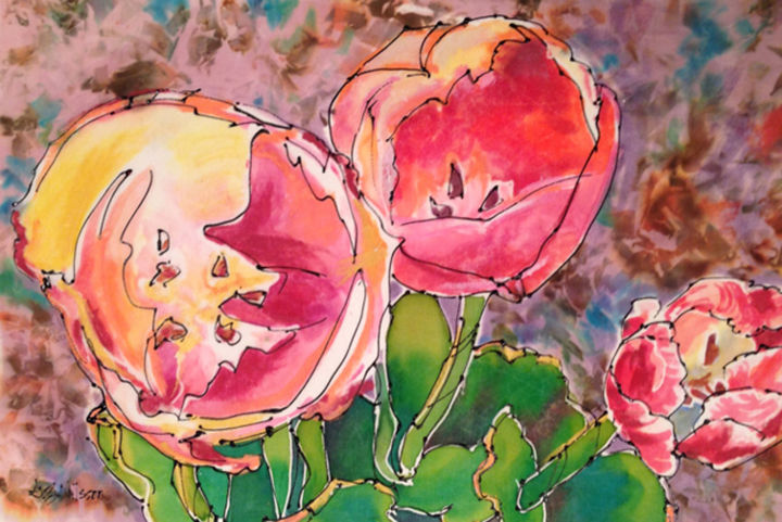 Tulip Smiles - Painting,  12x18 in ©2014 by Gloria Nilsson -                                                                                                            Illustration, Other, Botanic, Colors, Flower, Garden, Nature, floral, tulips, silk painting, gutta, acrylic, oil sticks