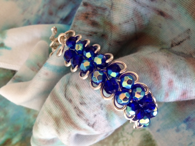 cobalt-blue-wire-weave-bangle-detail.png New Jewelry & Hand Painted Scarves