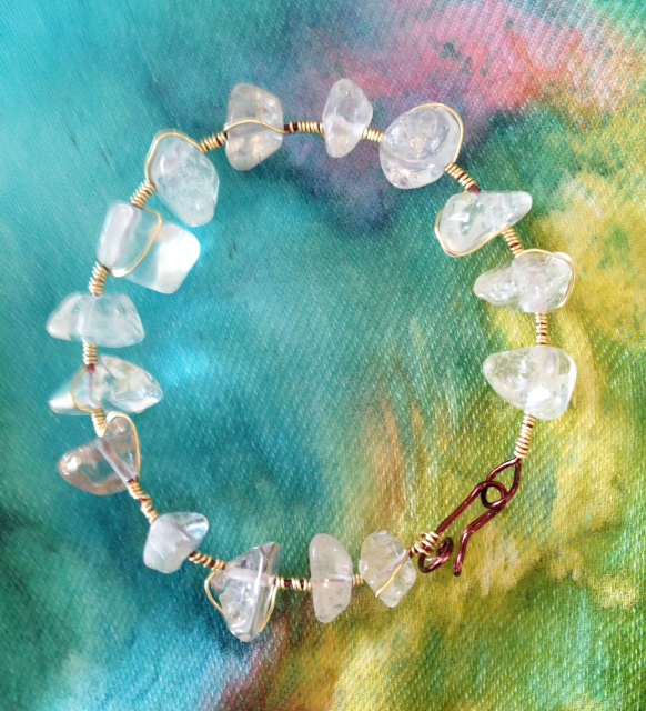 quartz-crystal-wrapped-nugget-bracelet.png New Jewelry & Hand Painted Scarves