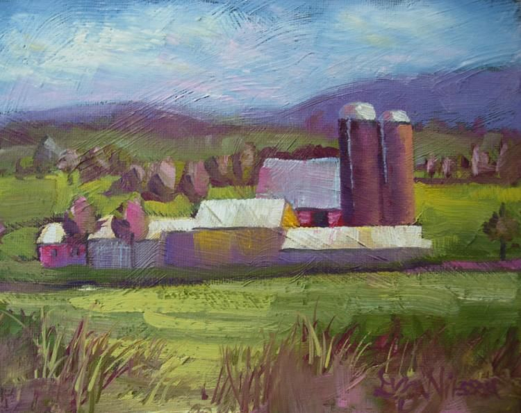 Pennsylvania Countryside, oil gloria nilsson,  curves,  connecticut artist,  oil paintings,  pastel paintings,  polymer clay,  artisan crafted jewelry designs,  semi precious stones