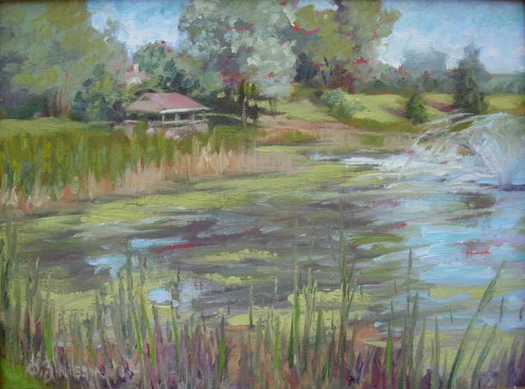 The Pond at Chester Village west original oil paintings,  laa,  gloria nilsson,  contemporary,  realism,  impressionistic