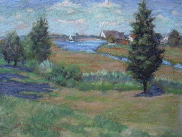 Golden Marshland, Pastel Pastels,  watercolors and oils,  local scenes,  by award winning artist Gloria Nilsson