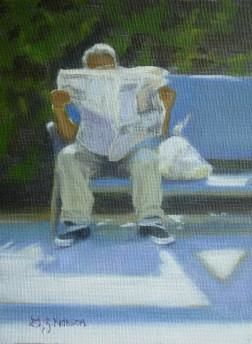 Passing Time 6x8 Oil on Canvas Panel (sold) Figurative,  Oil Paintings,  Old Lyme,  CT Small Works,  Holiday,  Christmas,  Giving,  Gifts,