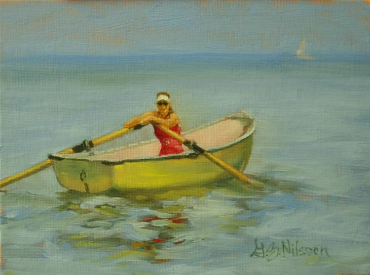 Rower at Rest, oil  local,  connecticut shoreline,  landscapes,  seacapes,  figurative,  still life,  original oil paintings,  DSFDF
