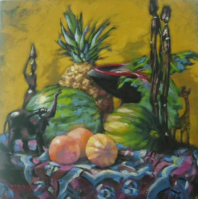 African Artifacts    oil on canvas panel (sold) African,  still life,  original oil painting gloria nilsson,  contemporary realism,