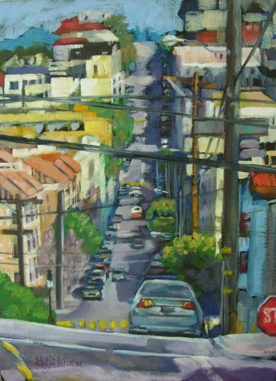 Sunny Side of the Street   oil on canvas board cityscape,  san francisco,  original oil painting gloria nilsson,  contemporary realism