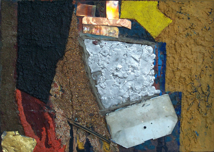 Hannes Hofstetter, Goldrush, 1998 - Painting,  19.7x27.6 in ©1998 by Hannes Hofstetter -                                                                                                                                    Abstract Art, Contemporary painting, Canvas, Metal, Abstract Art, Colors, History, Outer Space, Places, Goldrush, Metall, Gold, Blei, Kupfer