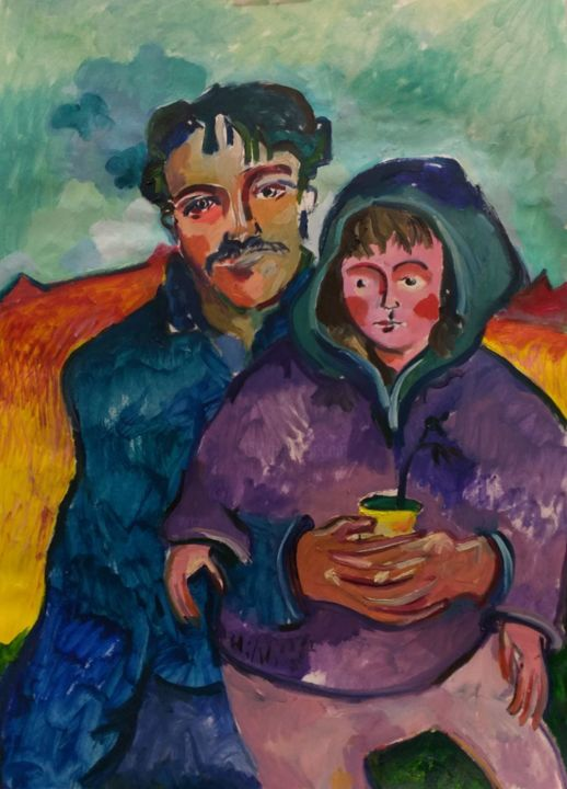 """Painting titled """"Father and child"""" by Hadi Khani, Original Art, Oil"""
