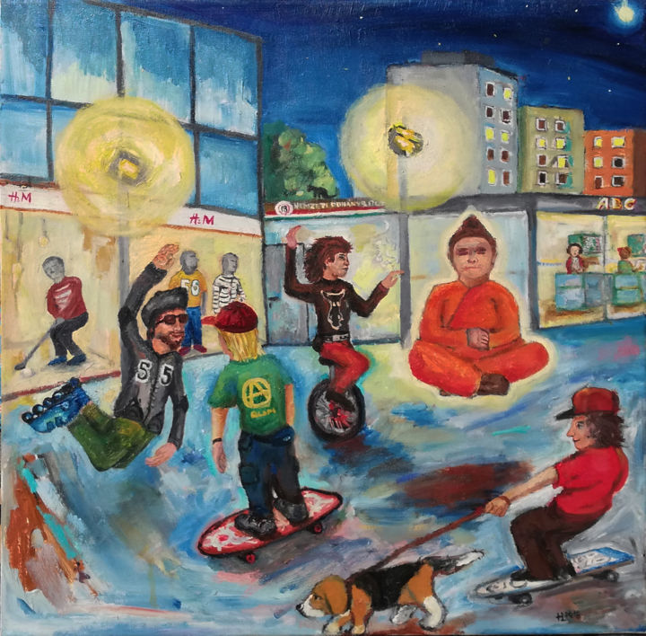 """Painting titled """"Buddha in Budapest"""" by Laszlo Hadnagy, Original Art, Oil"""
