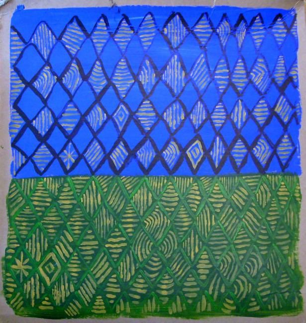 """Painting titled """"green and blue"""" by Haje Holmström, Original Art,"""