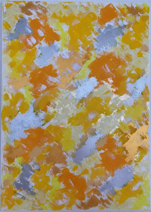 """Painting titled """"Yellow play of colo…"""" by Hajnalka Fellmann, Original Art, Acrylic Mounted on Stretcher frame"""