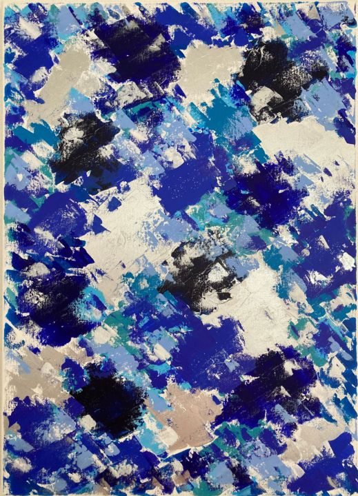 """Painting titled """"Blue play of colors"""" by Hajnalka Fellmann, Original Art, Acrylic Mounted on Stretcher frame"""