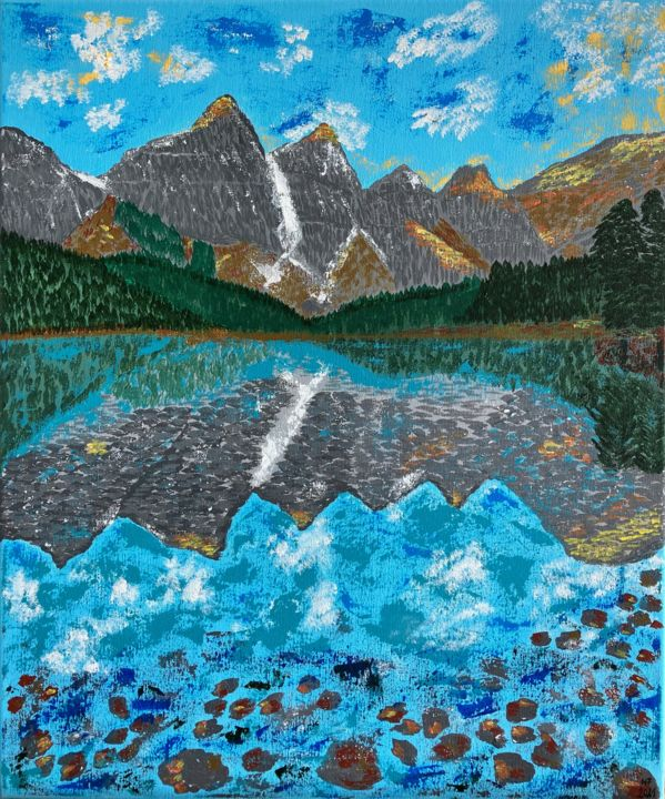 """Painting titled """"Mountains by the la…"""" by Hajnalka Fellmann, Original Art, Acrylic Mounted on Stretcher frame"""