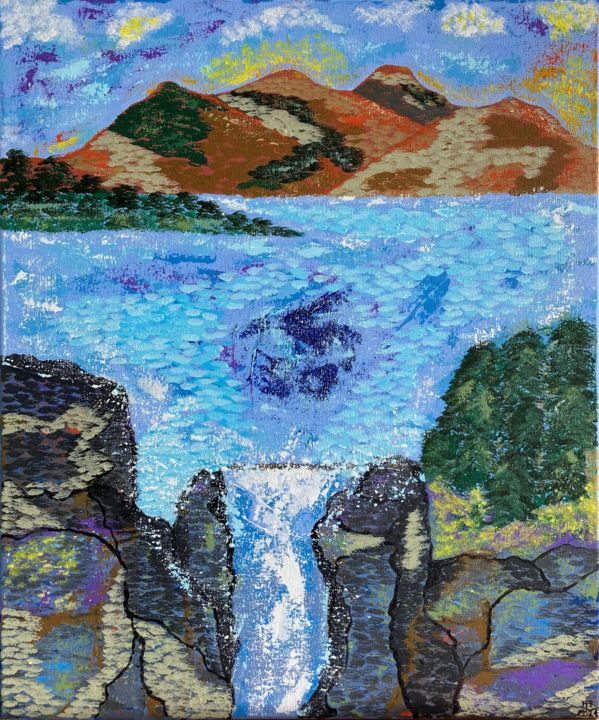 """Painting titled """"Waterfall"""" by Hajnalka Fellmann, Original Art, Acrylic Mounted on Stretcher frame"""