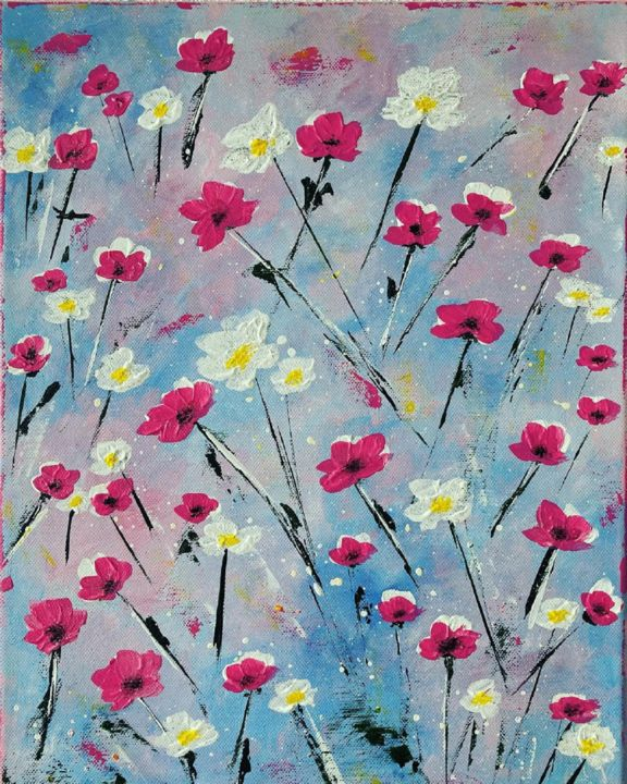 """Painting titled """"Flowers in the wind"""" by Hajnalka Fellmann, Original Art, Acrylic Mounted on Stretcher frame"""