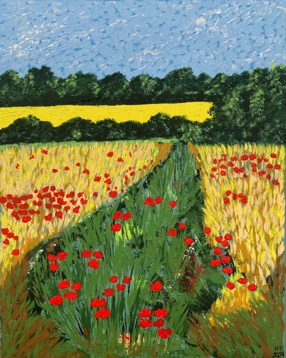 """Painting titled """"Wheat-field with po…"""" by Hajnalka Fellmann, Original Art, Acrylic Mounted on Stretcher frame"""