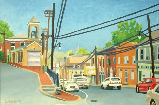 """Painting titled """"Downtown Ellicott C…"""" by Nick Aumiller, Original Art, Oil"""