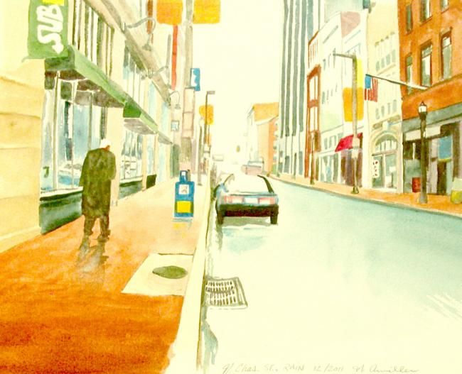 """Painting titled """"Charles St. after t…"""" by Nick Aumiller, Original Art,"""