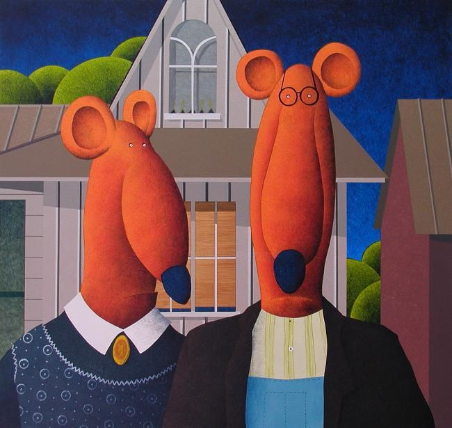 What happened to my fork? - Painting,  21.7x23.6 in, ©2011 by Greg Halsey -                                                              American Gothic