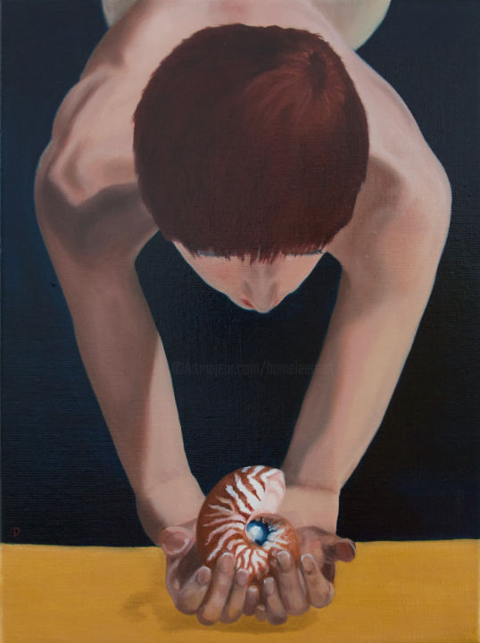 Nautilus - Painting,  15.8x11.8x0.8 in, ©2014 by Danielle Hameleers -                                                                                                                                                                                                                                                                                                                                                                                                                                                                                                                                                                                                                                                                                  Figurative, figurative-594, Seascape, Women, Diver, Nautilus, Sea shell, Redhead, woman, nautilus, water, ocean, nude, swimmer