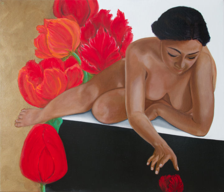 """Painting titled """"Tulipa"""" by Danielle Hameleers, Original Art, Oil Mounted on Stretcher frame"""