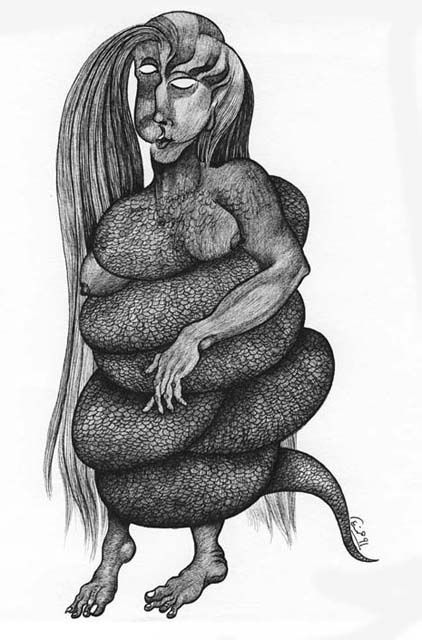 """Drawing titled """"Lilith"""" by Hamid Fam, Original Art, Other"""