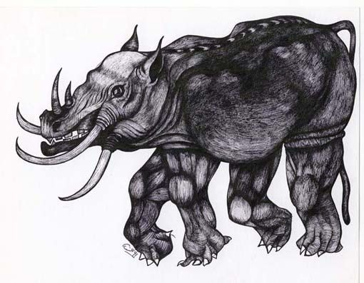 """Drawing titled """"Behemoth"""" by Hamid Fam, Original Art, Other"""