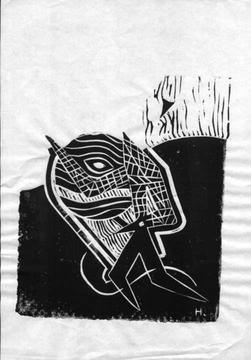"""Printmaking titled """"Into the future"""" by Dieter Hamm, Original Art,"""