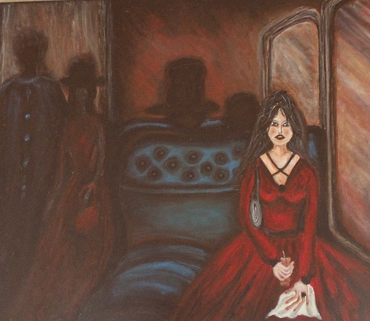 Woman in the train (anxiety) - Painting,  19.7x23.6x0.4 in, ©2017 by Hana Agić -                                                                                                                                                                                                                                                                                                                                                                                                                                                                                                                                                                                          Expressionism, expressionism-591, artwork_cat.Colors, People, Places, expressionism, acrylic, canvas, woman, train, blue, red