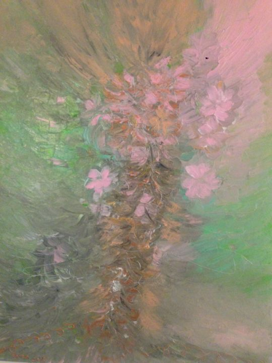 Lost In Flowers - Painting,  80x60x2 cm ©2015 by Hanen HB -                                        Abstract Art, Canvas