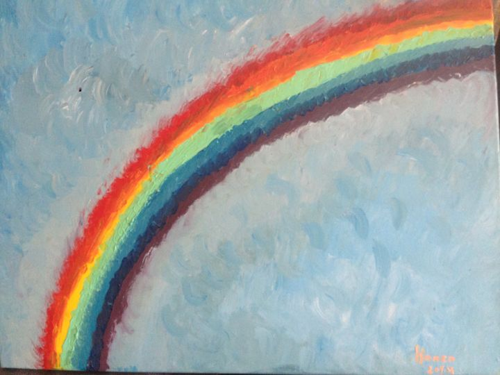 Rainbow - Painting,  70x60x2 cm ©2014 by Hanen HB -                                        Abstract Art, Canvas