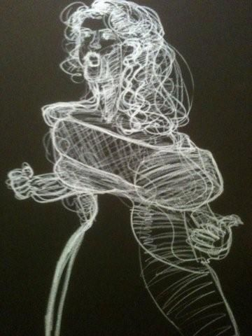 joyce on stage - Painting,  50x80 cm ©2012 by Hanna Rees -