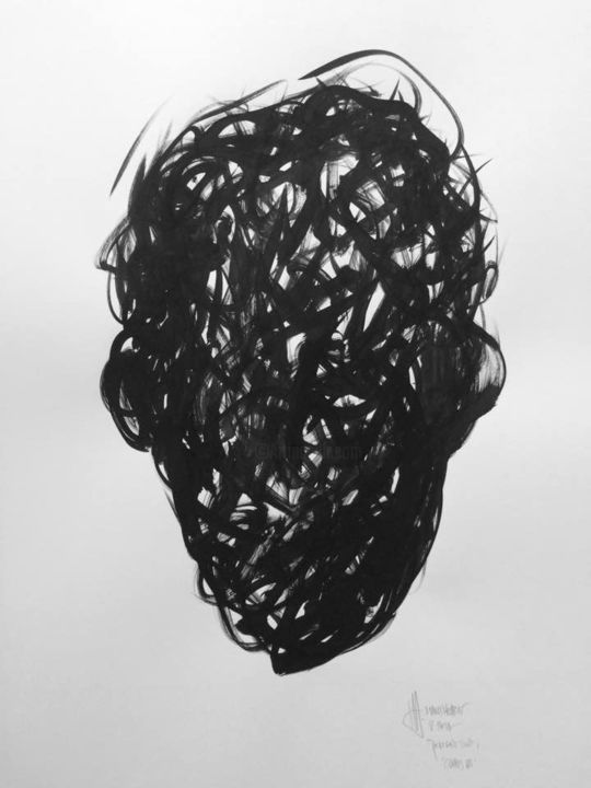 Chaos Portrait 10/2017 - Painting,  84.1x59.4x0.1 cm ©2017 by Hans Hobert -            Black, Ink, Painting, Portrait, Chaos, Abstract, Art