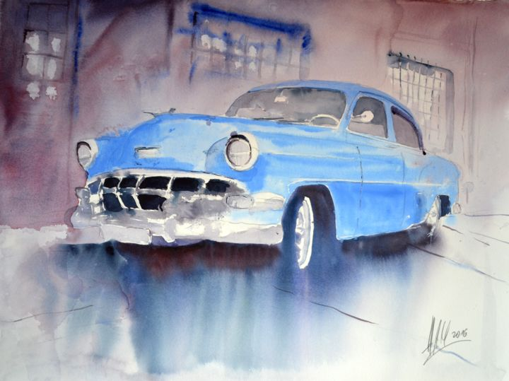 """Painting titled """"Havanna Taxi"""" by Hans-Peter Amherd, Original Art, Watercolor"""