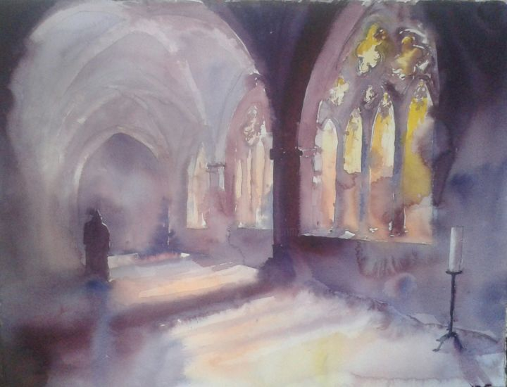 """Painting titled """"Klostergang"""" by Hans-Peter Amherd, Original Art, Watercolor"""