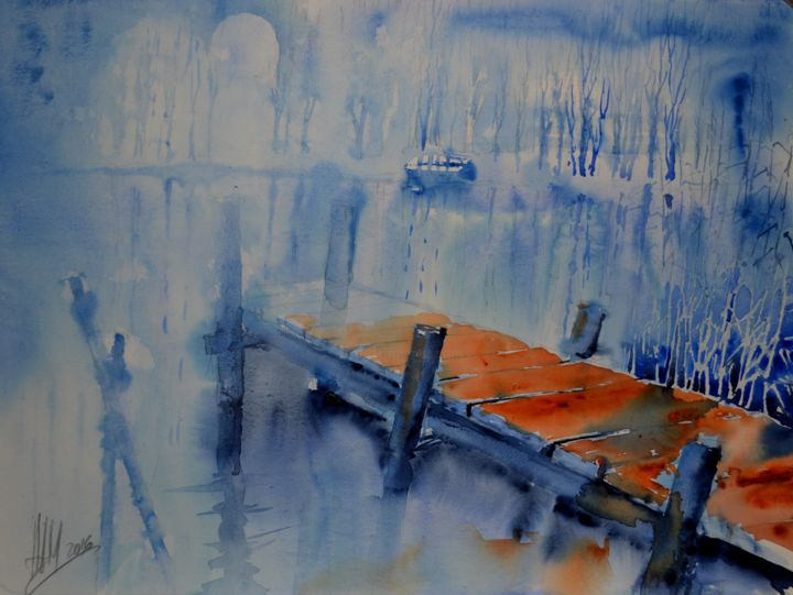 """Painting titled """"Mystery4"""" by Hans-Peter Amherd, Original Art, Watercolor"""