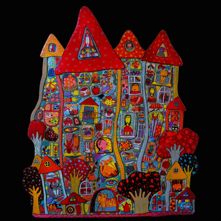 """Wall panel """"House of Happiness"""" - Design,  130x110 cm ©2014 by Gera -            ceramic mural, interior panels, ceramic panel"""
