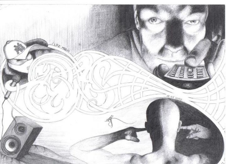 """Drawing titled """"Music Lover"""" by Grotesque, Original Art,"""