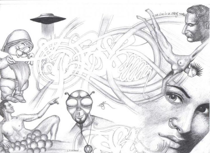 """Drawing titled """"Crazy World"""" by Grotesque, Original Art,"""