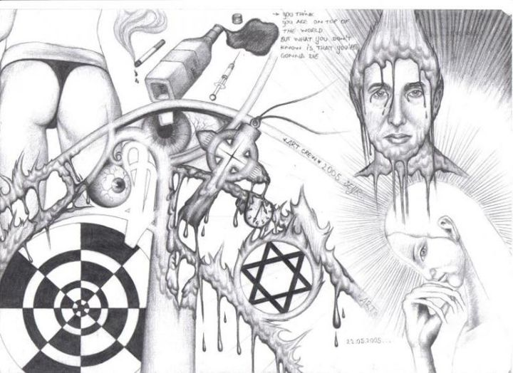 """Drawing titled """"The Sin"""" by Grotesque, Original Art,"""