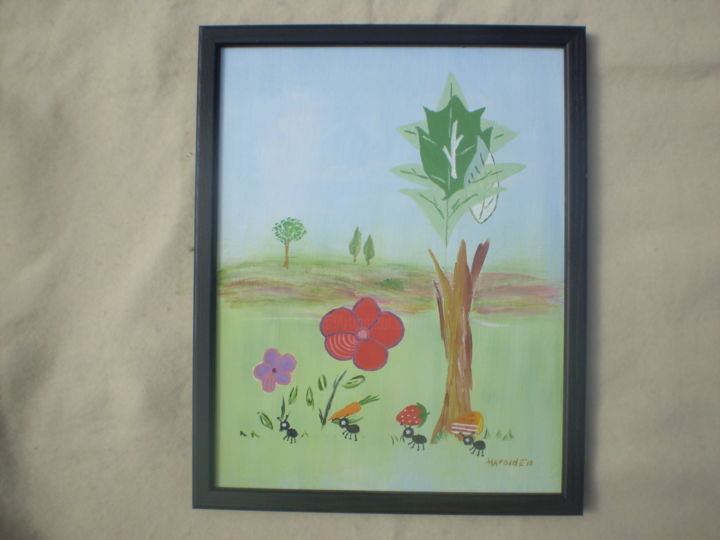 """Painting titled """"Picnic Thieves"""" by Harold Messler, Original Art, Other"""