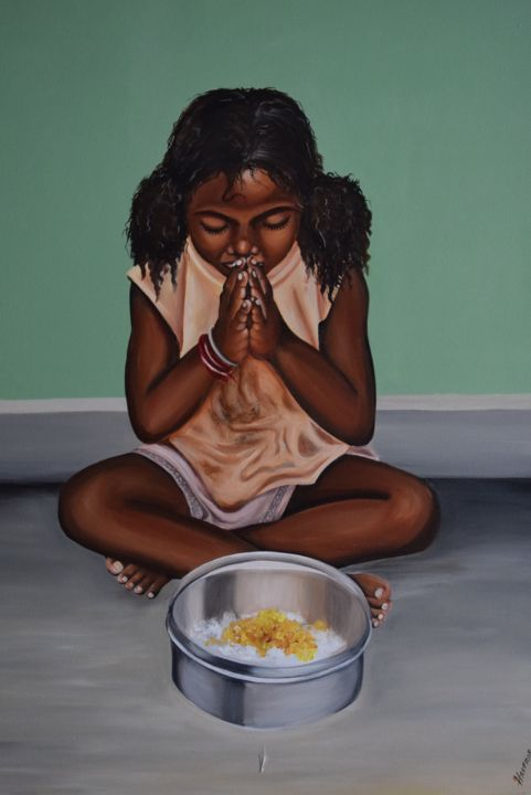 Thank the lord - Painting,  40x30x1 in, ©2019 by Harphar -                                                                                                                                                                                                                                                                                                                  Expressionism, expressionism-591, Religion, thanks, food, poor