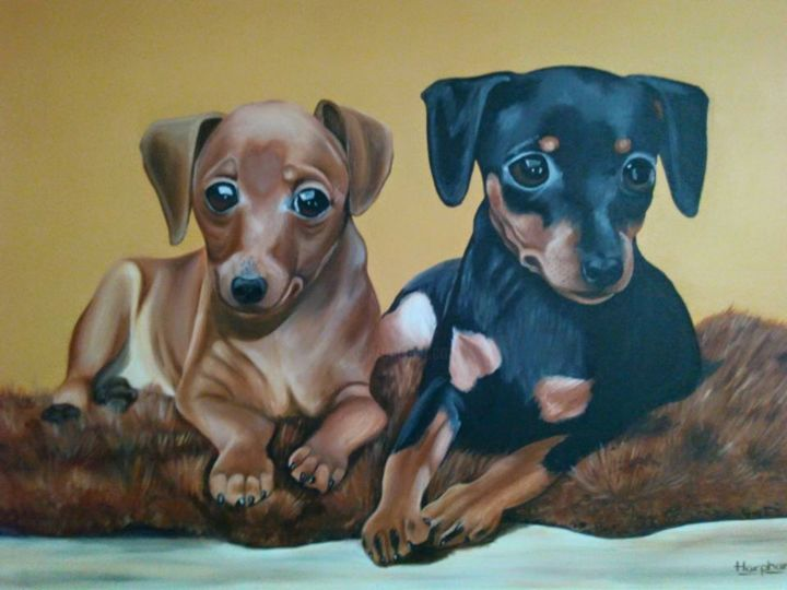 Adorable Cannine - Painting,  11.8x15.8x0.4 in, ©2016 by Harphar -                                                                                                                                                                                                                                                                                                                  Hyperrealism, hyperrealism-612, Animals, dog, animal, photorealistic