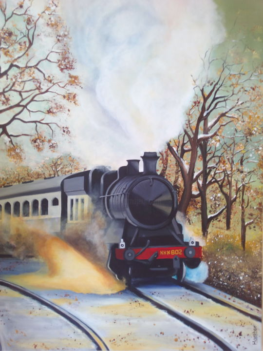 The Steaming Beauty - Painting,  15.8x11.8x0.4 in, ©2016 by Harphar -                                                                                                                                                                                                      Train, train, steam engines, landscape