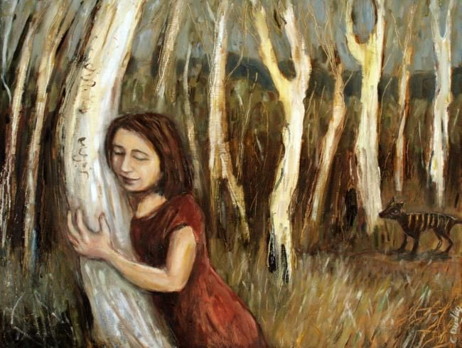 Listening to Trees - Painting ©2012 by Dudley -