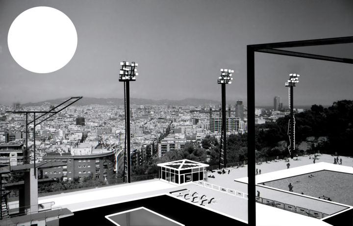 """Digital Arts titled """"Barcelona Olympic P…"""" by Kanzas Anthony, Original Art, Digital Painting"""
