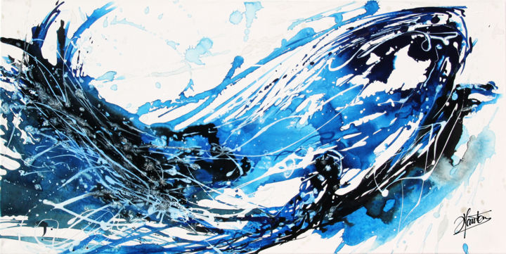 C'et une vague - Painting,  40x80x2 cm ©2019 by O -                                                                                Environmental Art, Figurative Art, Contemporary painting, Animals, Nature, baleine, poisson, bleu, vague